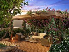 plante grimpante pour ombre et jardin avec pergola