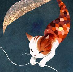 cat Illustration cats underwater fantasy ocean sea digital Mermaids fishing sailing artists on tumblr Children