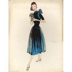 (Paramount, 1954) Edith Head costume sketch of Audrey Hepburn in Sabrina