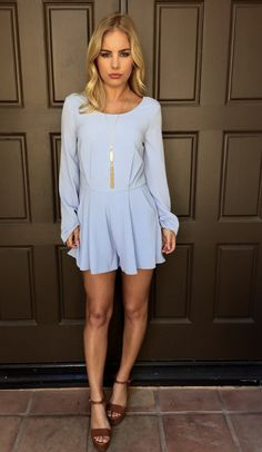 Shoreside Long Sleeve Romper - Powder Blue #romper #style
