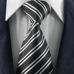 Black & White Striped Tie Set / Formal Business Tie Set