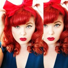 I love her entire look! Rockabilly Looks, Rockabilly Hair, Rockabilly Fashion, Hair Locks, Wavy Hair, Bright Red Hair, Red Hair Don't Care, Look Retro, Pin Up Hair