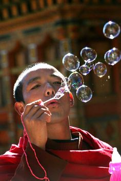 prayer bubbles, bhutan.