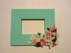 The frame is a 4x6 . The paint is custom mixed acrylic and a very teal aqua blue, reminds me of the Caribbean Islands, also has tropical