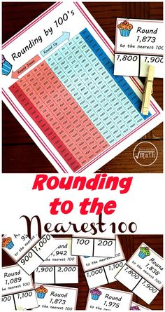 Need a rounding to the nearest hundred worksheet? These clip cards are a fun alternative to a worksheet and help children practice rounding while using a hundred chart. The combination of the hundreds chart and clip cards make this activity perfect for a child struggling with rounding. Rounding Activities, Fun Math Games, Hands On Activities, Division Activities, Maths Puzzles, Learning Activities, Teaching Skills, Teaching Math, Teaching Ideas