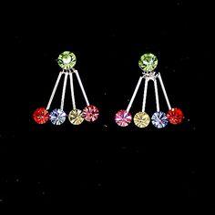 Multi-couleur cristal Fleur Mini Avec Shiny Chrome Placage Collier Set NS1878A