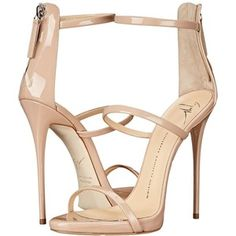 Giuseppe Zanotti High Heel Back-Zip Three-Strap Sandal (Ver Blush) Women's Shoes