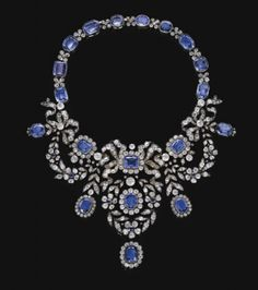 the Habsburg Sapphire Parure of Empress Marie-Louise of France. Sapphire and diamond necklace, late 19th century.