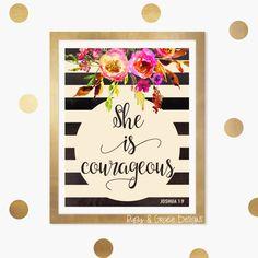Bible Verse Art She is Courageous Joshua 1 9 Nursery Wall