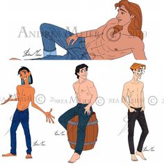 """Andrea Meier Art on Instagram: """"""""JEANS COLLECTION"""" so far by Andrea Meier 👖 In this series you will find the Disney Princes in their jeans, shirtless and barefoot 😜 What…"""" Disney Men, Walt Disney, Disney Artists, Cartoon Styles, Disney Characters, Fictional Characters, Barefoot, Disney Princess, Jeans"""