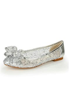 Sequined Lace Sheer Flat Shoes With Bow
