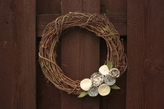 Winter Wreath, White Holiday Christmas Grapevine Wreath- 12 Inches. $30.00, via Etsy.