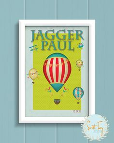 Child's Monogrammed Vintage Hot Air Balloon Art by SweetIvyDesigns, $13.00