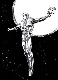 Forgotten Marvel character, ROM Space Knight. Sketch by Paul Moore.