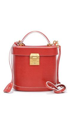 Monogrammable benchley shoulder bag in red saffiano leather by MARK CROSS Preorder Now on Moda Operandi