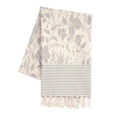 Jacquardvävd pläd Lit de la fleur grey, 140x200 cm, - Heminredning - Hemtextil…