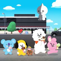 Nothing but just a normal sizzling hot day and decided to get some ice-cream and Tata taking a selfie or taking a picture of Mang upside down or even Van sitting on the roof! (or idk) Leprechaun, Kpop, Bts Kim, Les Bts, Bts Chibi, Line Friends, Bts Fans, About Bts, I Love Bts