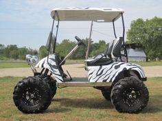 Custom Golf Cart -- Zebra golf cart