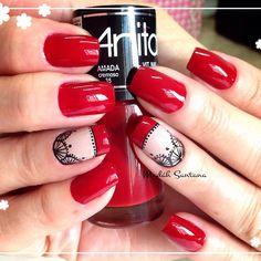 Instagram media by madahsantana - Nails linda @Beth #vermelho#filha#única#renda#mimo #madahsantana #manicure #nailartes #naoéadesivo #tudofeitoamaolivre #traçolivre ❤️