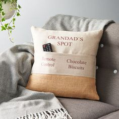 Personalised Pocket Cushion - view all father's day gifts Grandpa Birthday Gifts, Grandpa Gifts, Birthday Presents, Great Gifts For Dad, Presents For Dad, Cute Bookmarks, Unusual Presents, Grandfather Gifts, Personalised Cushions