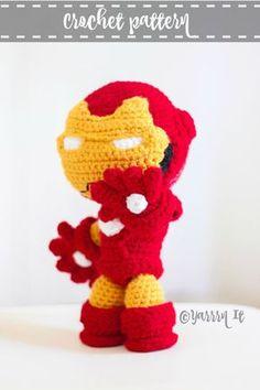 Iron Man doll pattern by Luciana Caro – Best Amigurumi Iron Man Birthday, Crochet Dragon, Stuffed Toys Patterns, Amigurumi Doll, Crochet Dolls, Yarn Crafts, Crochet Animals, Baby Knitting, Crochet Projects