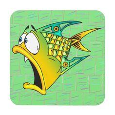 Funny Cartoon Fish Cork Coaster from Zazzle. Fish Drawings, Cartoon Drawings, Cartoon Art, Animal Sketches, Animal Drawings, Easy Disney Drawings, Pick Art, Halloween Arts And Crafts, Cartoon Fish