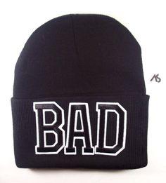Ashlei Shannon BAD Graphic Beanie - Black on Black. Shop Winter Beanies.