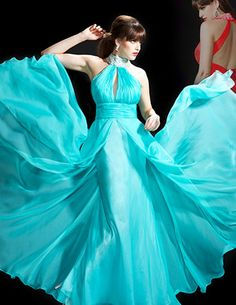 Flowing chiffon homecoming dress with high collar and split bodice. Free made-to-measurement service for any size. Available colors seen as in Color Options.