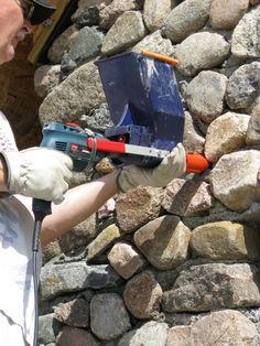 Pointing stonework with a Quickpoint mortar gun. Интересный инструмент для заполнения швов каменной кладки