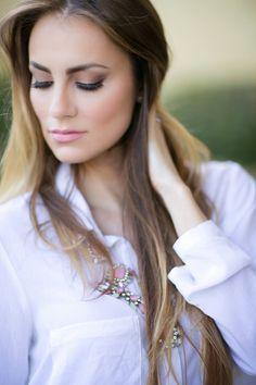 Crisp, white button-down, faux leather pants, statement necklace & leopard heels. #HelloGorgeous #OOTD