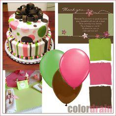 Color Palettes - Brown, Pink & Green Baby Shower #mybabystar