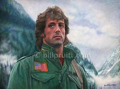 "This is an ORIGINAL oil painting of Sly Stallone from the movie ""First Blood"" measures 18""x24"" on canvas board. It is sealed with 2 coats of varnish so it will be sealed for many generations."