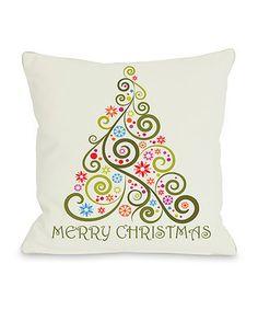 'Merry Christmas' Whimsical Tree Throw Pillow