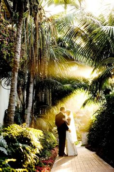 Light drenched wedding photo