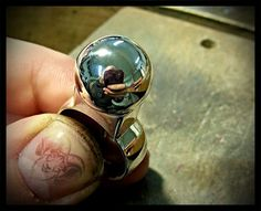 Big handmade eyecatcher silver ring. Inspired by an old photo brought by the customer. The ball diameter is 15mm (~3/5in)