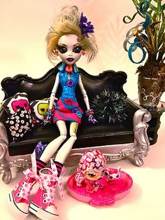 "OOAK Monster High Custom Doll Lagoona Blue ""Lacey and Pet Lamar""Doll Clothes Pet 