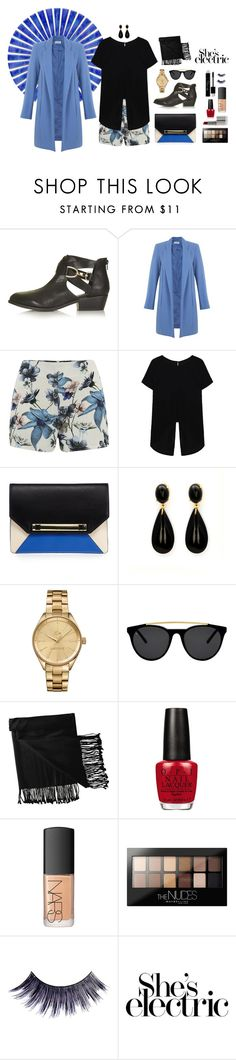 """She's Electric!"" by joanammoura ❤ liked on Polyvore featuring Topshop, Miss Selfridge, ONLY, Lacoste, Smoke & Mirrors, New Directions, OPI, NARS Cosmetics, Maybelline and Manic Panic"