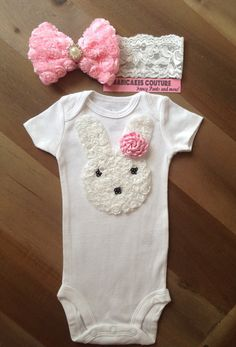 1st Easter Bunny Couture White Onesie & Headband by BabicakesCouture
