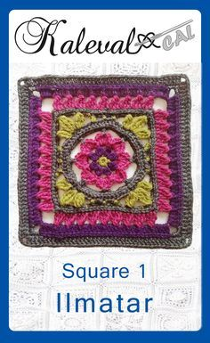 Crochet Squares Design Kalevala CAL crochet-along, square Join in the blanket cal by Finnish crochet designers Crochet Squares Afghan, Crochet Blocks, Granny Square Crochet Pattern, Crochet Granny, Granny Squares, Crochet Mandala, Crochet Motif, Crochet Patterns, Afghan Patterns