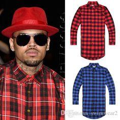 Hip Hop Mens Dress Shirt Plaid Shirts Long Sleeve Men Shirts Man Extended Red And Black Plaid Shirt Bluemen Camisa Masculina T Shirt Shop Design Crazy T Shirts Online From Swimwear2, $23.52| Dhgate.Com