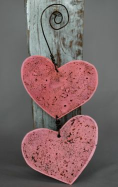 ~ Wooden Heart & Old Wire ~ Hearts painted & sanded....Shotgun blast and then drill holes for the wire...(an Ice Pick will do the trick but to get your Sweetie involved the shotgun would work)....