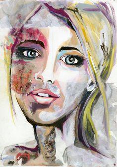 Colorful floral original portrait painting by RikkiSneddonArt, #Art #Artwork #Portrait #mixedmedia