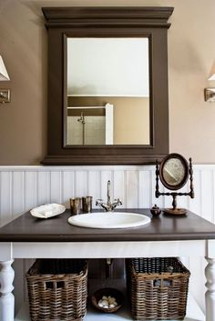 Beautiful for downstairs bathroom...wood mirror frame matches wood counter top on white vanity (re-purposed desk...need drawers and farmhouse sink), wall color, beaded board and sconces