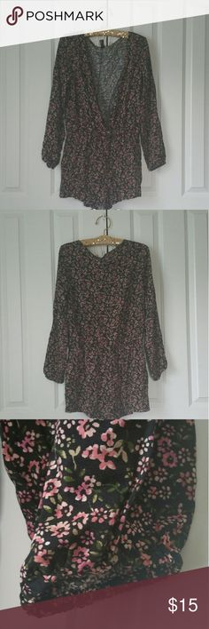 """▪Floral Print Jumpsuit Long Sleeve Short Romper▪ Brand new with tags. Size is Large. Color is black, pink, green. 100% rayon. Measures 21"""" across the bust, 2"""" inseam  No trades. If you have any questions please ask. If you don't like the price please use the offer button.  Have an amazing day! """"Great Sense of Style"""" Forever 21 Pants Jumpsuits & Rompers"""