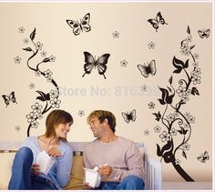 free shipping  home decoration ideas bedroom romantic floral backdrop stickers stickers / butterfly fly dance