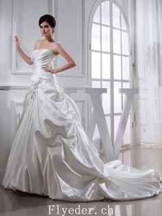 A-linie Sweetheart Perlstickerei Ärmellos Gericht Züge Satin Hochzeitskleider