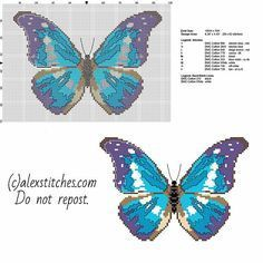 Butterfly Cross Stitch Patterns | ... beautiful blue and violet butterfly free cross stitch pattern download