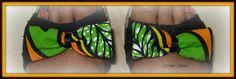 Clips à chaussure orange imprimé vertes en wax de L'Atelier Rikittyn'  sur DaWanda.com