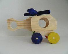 Kit de brinquedos educativos de madeira- helicóptero: 17 cm de comprimento, 11 cm de altura e 10 cm de largura