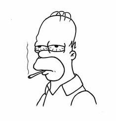 Trippy Drawings, Cool Art Drawings, Pencil Art Drawings, Art Drawings Sketches, Easy Drawings, Simpsons Drawings, Simpsons Art, Cute Canvas Paintings, Small Canvas Art